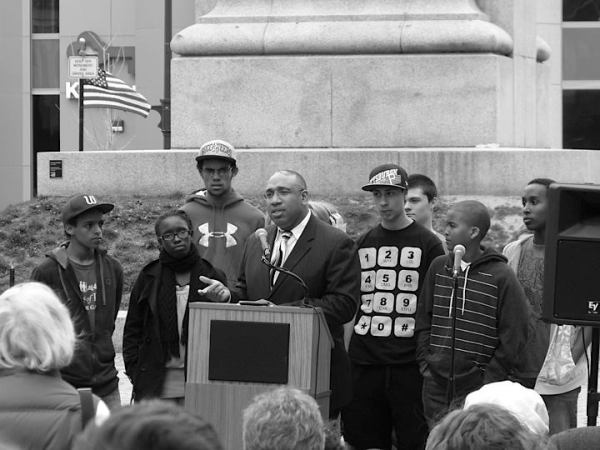 Youth and Reverend Lewis--photo by Robert Houle-at Trayvon Memorial 2012