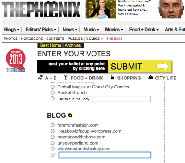 Best Blog nomination Portland Phoenix 2013